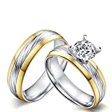 AnazoZ Alliance Homme Femme Couple Ring 2PCS Set Acier Inoxydable Two Tone Solitaire...