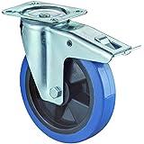 BS Rollen Transport-Lenkrolle mit Feststeller, Anschraubplatte, Elastik Gummirad, Kunststoff Radkörper, 100 mm, blau, L520.B61.101