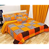 Choice homes Cotton King Size Double bedsheet with 2 Pillow Cover (90x100-inches, Multicolour)