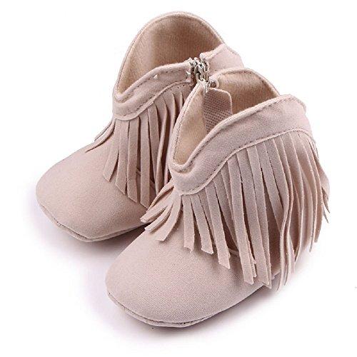 Auxma Für Baby 0-18 Monate,Babyschuhe Stiefel Weiche Sohle Schuhe prewalker (0-6 M, Braun) Beige