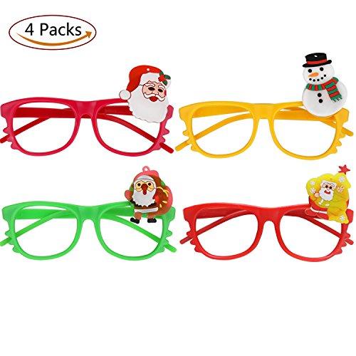 COCOFLY Weihnachts Party-Gläser Kinder Stilvolle Nette Lumineszenz Gläser Rahmen Ohne Linsen für Weihnachtsfeier Liefert oder Weihnachtsschmuck Weihnachts Geschenke ,Packung mit 4 (Alter 3-10)