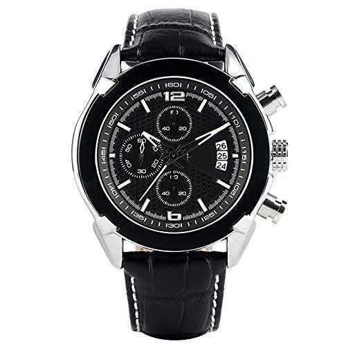 Liandd Uhren Herren Aviator Auto Date Black Quartz Armbanduhren Chronograph Sport,