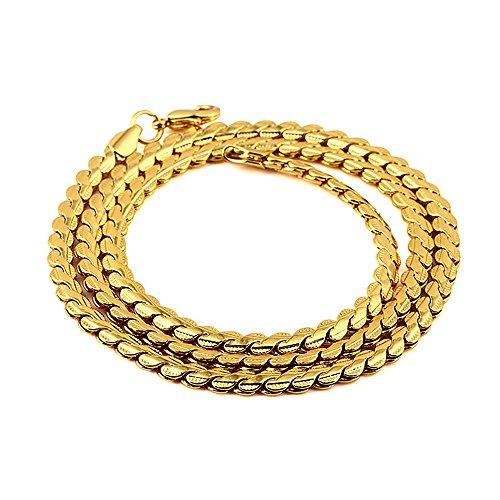 Kangqifen Schmuck Damen Herren Halskette 18K Vergoldet Kette Schlangenkette Gold,Breite 4 mm,Länge 55 cm
