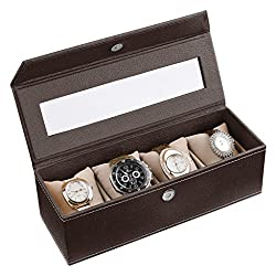 Ecoleatherette Handcrafted Eco Friendly 4 Watch Box, Watch Case, Watch Organizer (Chocolate)