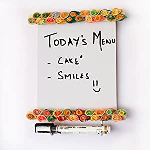IVEI Wooden Utility Fridge Magnet with Hooks - Easy to Wipe White Board - Dry Erase Board - Paper Quilling on a Wooden Frame – Unique to-Do-List - Magnet for Fridge - Best Gift for Home, Kitchen, etc