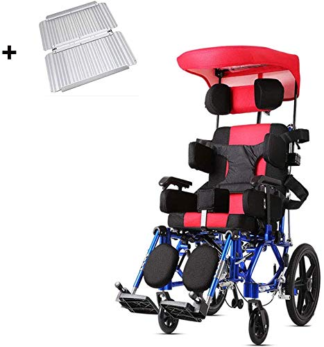 Daxiong Sedia a rotelle per Bambini Pieghevole Scooter Alluminio Pieno Lay Semi-Ricezione di disabilità per Bambini Leggero Passeggino
