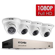 ZOSI 4CH Full 1080p ONVIF DVR Kit Vidéo Surveillance 4 Caméras de Surveillance 2000TVL IP66 Waterproof Système Intérieur&Extérieur avec Vision Nocturne de 20m, Détection de Mouvement & Alerte par Email, App gratuite