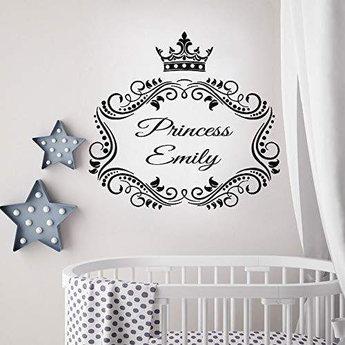 ONETOTOP Mädchen Raum Dekor Prinzessin Benutzerdefinierten Namen Wandtattoos Kindergarten Prinzessin Krone Wand Kunst Wandbild Babys Raum Dekor personalisierte Namen 61 * 57 cm (Metall-krone-wand-kunst)
