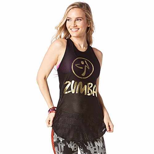 Zumba Fitness Damen Mesh of the Party Tight Tank Frauentop, Bold Black, S (Mesh-tank)