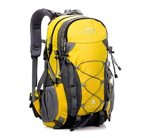 Cuckoo 36L leggero Alta capacità Campeggio all'aperto per arrampicarsi Zaino impermeabile da viaggio Grandi escursionisti Daypacks Borsa da montagna,blu giallo