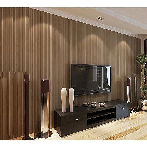 ... Murals Flocking Nonwoven Bump Dimensional Brown Environmental  Protection Wall Paper Wallpaper Vertical Stripes Wallpaper TV Living Room  Bedroom Decor