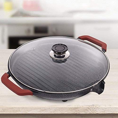 BHDYHM Tragbare elektrische Teppanyaki-Tischplatte, Cool Touch-Griff, Antihaft-Material, große Oberfläche, leicht zu reinigen, einstellbare Temperatur, Grill im Freien, Campingküche, Abendessen