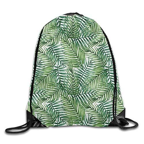 Funny&shirt Watercolor Print Botanical Wild Palm Trees Leaves Men & Women Drawstring Backpack Travel Bag - Tree Print Shirt