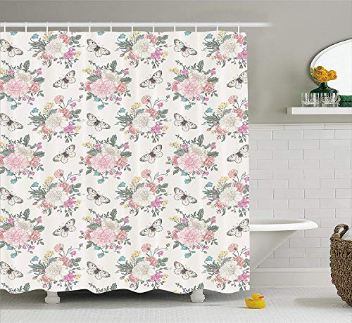Shabby Chic Shower Curtain, Peonies Sweet Peas Roses Bouquet and Butterflies Pastel Tones Bridal Theme, Fabric Bathroom Decor Set with Hooks, 72x72 inches Extra Long, Pink Green