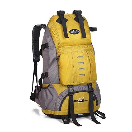 ROBAG Outdoor-Bergsteigen Tasche Rucksack aus Polyester Freizeit Tourismus Reise trekking-Paket für Männer und Frauen 50L yellow