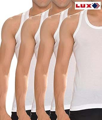 Lux Cozi White Men's Sleevless vest pack of 5 (Large)