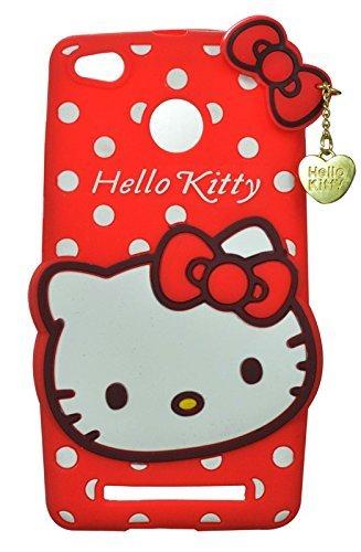 ERIT Girl's Back Cover Cute Hello Kitty Silicon with Pendant for Xioami Redmi 3s Prime - Red