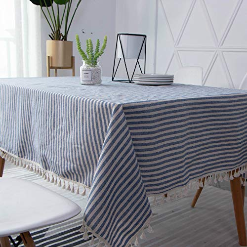 Luckyzc Cotton and Linen Striped Tablecloth, Simple Tassel Kitchen Restaurant Party Decoration, Dustproof and Antifouling, 140x180cm