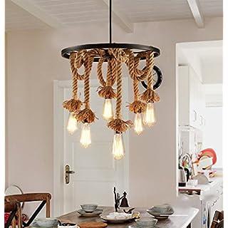 ZTLEUCHTE Retro DIY Hängeleuchte Industrielle Pendelleuchten Vintage  Deckenleuchte Kronleuchter Eisen Hanfseile Hängelampen 220V Edison LED  Dekorative