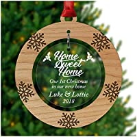 PERSONALISED New Home 1st First Christmas Tree Ornament Decoration Bauble Xmas - Cherry Veneer and Acrylic Engraved Christmas Tree Ornament - Keepsake Christmas Gifts Presents