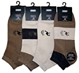 8 Pack Mens Trainer Socks-Ankle Socks SAHARA design, Cotton rich
