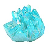 CrystalTears 1.85-2.5'' Pierre d'Energie Géode de Quartz Cristal de Roche Irregulière Clorant Teintée Titane Druse Cluster Specimen Maison Décoration (Bleu/Vert)