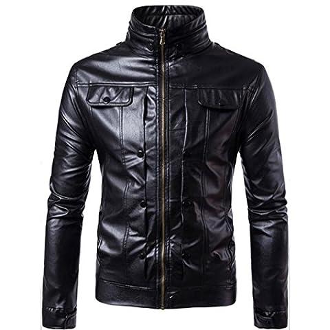 FNKDOR Automne & Hiver chaud Moto Veste en cuir Outwear Hommes Manteau (XXL, Noir)