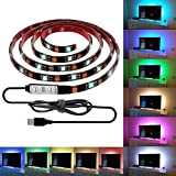 Morpilot 2Pcs USB Powered Led Strip Lights RGB Waterproof Flexible LED Light Strips SMD 5050 LED Ribbon Light Mood Light Color Changing Full Kit With Controller (0.9M/2.9ft)
