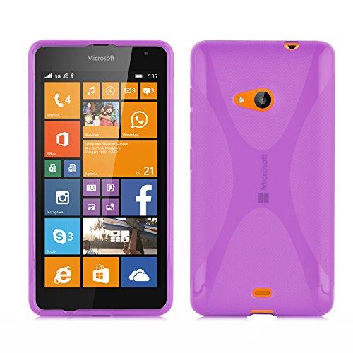 Preisvergleich Produktbild Cadorabo Hülle für Nokia Lumia 535 - Hülle in FLIEDER VIOLETT – Handyhülle aus flexiblem TPU Silikon im X-Line Design - Silikonhülle Schutzhülle Soft Back Cover Case Bumper