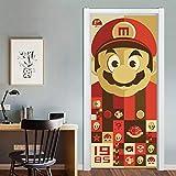 HNXSL Autocollant De Porte 3D Super Mario Porte Décorative Art Mural Salle De Jeux pour Enfants Cartoon Bricolage Papier Peint Imperméable À l'eau 77 * 200cm