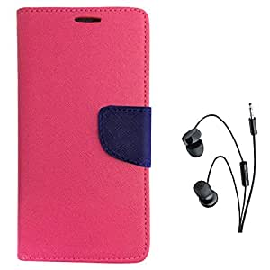 Avzax Diary Look Flip Wallet Case Cover With Magnetic Closure For Lenovo A6600 (Pink) + In Ear Headphone
