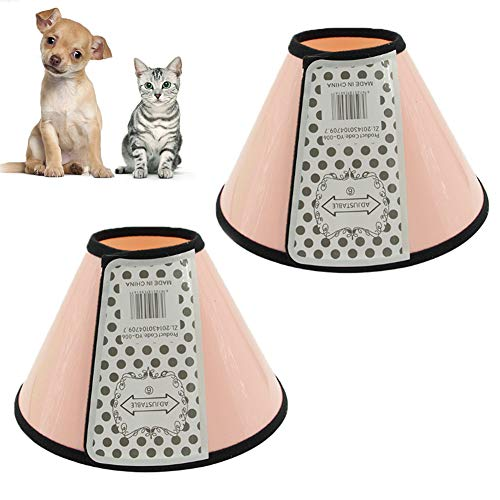 Rhww Collar De RecuperacióN Para Perros,Ajustable Isabelino Cono Para Mascotas Los Gatos RecuperacióN Desde CirugíA Y Heridas,Ligero El Plastico Collar,Pink,1