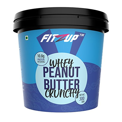FitZup Whey Peanut Butter Crunchy, with Whey Concentrate, 10.8 GMS Protein per Serving, 300 GMS Tub