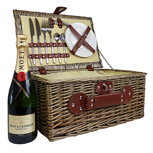 Luxury Cream Lined Chiller Wicker Hamper 2 Person Picnic Basket with Moet et Chandon Champagne Brut - Gift Ideas for Valentines, Business, Christmas presents, Birthday, Wedding, Anniversary and Corporate