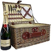 Willow cesta de picnic con Moet Chandon Champagne y integrado Cooler Bag - La idea de regalo Para la boda, cumpleaños, aniversario