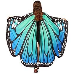 KaloryWee Frauen Schmetterlingsflügel Schal Nymphe Pixie Poncho Kostüm Zubehör (Blau)