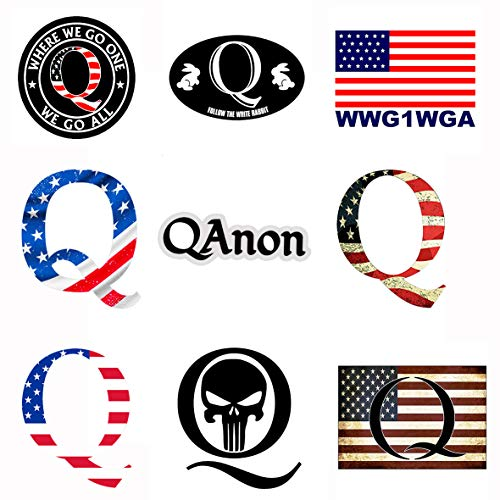 GTOTd 9 Stück Q Form Hell Vintage American Flag Sticker WWG1WGA (Qanon Trump) Wasserdicht Auto Aufkleber Bumper Sticker