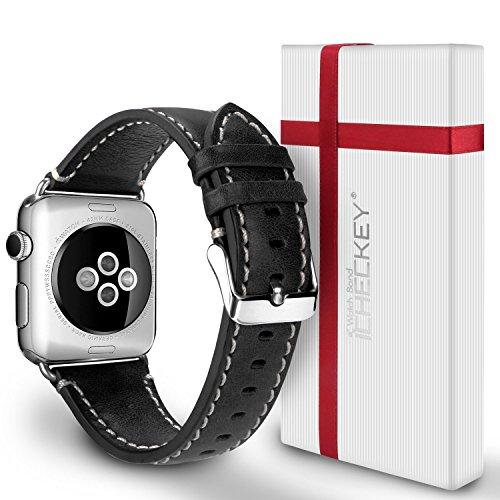 Apple Watch Armband 42mm - Ossky Leder Uhrenarmband iWatch Klassische Mentallschnalle Ersatzarmband für Alle Apple 42mm Watch Serie 1/2 / 3, Sport, Edition, Nike+