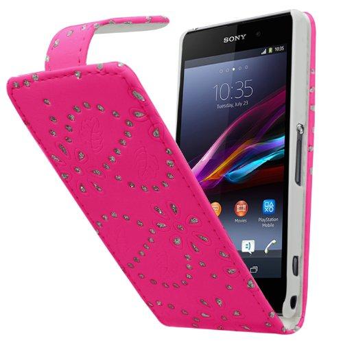 Diamante Compact (Samrick Bling Diamante Geblümt Blumen Leder Flip Schutzhülle für Sony Xperia Z1 Compact rosa)