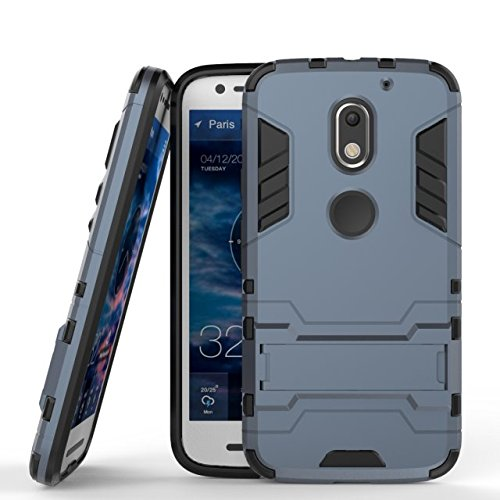 YHUISEN Moto E3 Case, 2 in 1 Eisen Armour Tough Style Hybrid Dual Layer Rüstung Defender PC + TPU Schützende harte Fall mit Ständer für Motorola Moto E3 ( Color : Blue , Size : MOTO E3 ) Blue Black