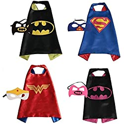 RioRand Superhero Disfraces para Niños de Dibujos Animados Capas de Satén con Máscaras de Fieltro Juguetes para Niños y Niñas 4 Satz