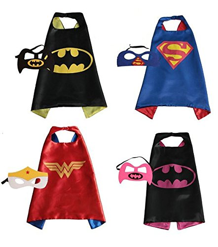 RioRand Comics Cartoon-Helden kinder verkleiden Kostüme 4 Satz Satin Capes mit Filz (Maske Batman Kinder Kostüme)