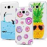 3 x Funda para Samsung Galaxy J7 2016 Case MAXFE.CO TPU Carcasa Ultrafina Flexible Diseño Tratamiento IMD con Dibujos de Donuts+Pingüinos+Piña