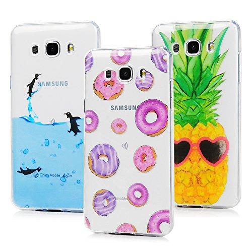 3 x Funda para Samsung Galaxy J7 2016 Case TPU Carcasa Ultrafina Flexible Diseño Tratamiento IMD con Dibujos de Donuts+Pingüinos+Piña - MAXFE.CO
