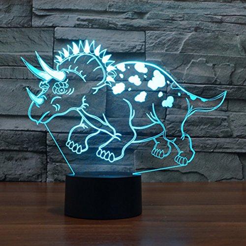 3D Illusion Lampe LED Nachtlicht, EASEHOME Optische 3D-Illusions-Lampen Tischlampe Nachtlichter 7 Farben Berührungsschalter Schreibtischlampe mit 150cm USB-Kabel Kinder Nachtlampe, Dinosaurier-1