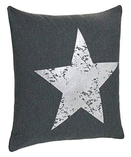 Cojín Couch Cojín Diseño Cojín Estrella Impresión - con Relleno agradable y suave - En Varios Colores, poliéster, antracita/plata, aprox.45x45 cm