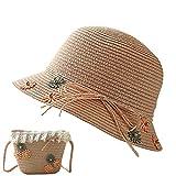 Amorar Niñas Sombrero de ala Ancha y Bolso Hombro de Paja Verano Sombrero de Playa Anti UV Solar para Bebé
