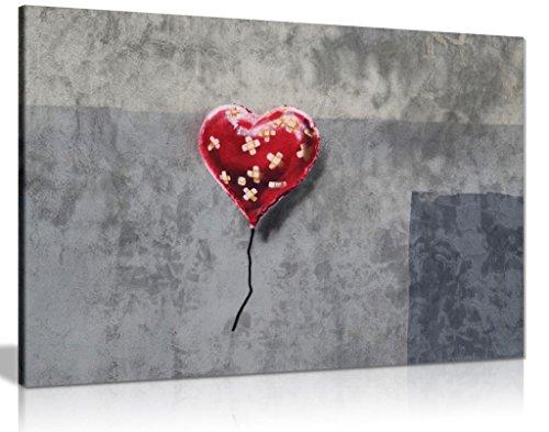bandagierte Herz Ballon Leinwand Banksy Art Wand Bild Print, A0 91x61cm (36x24in)
