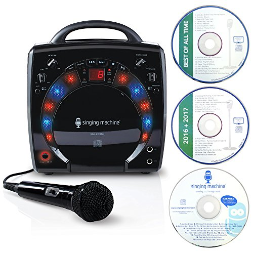 Singing Machine SML283BLK Portable Plug-n-Play Karaoke CDG Player mit extra bonus CD's schwarz (Kinder Karaoke Maschine Cdg)