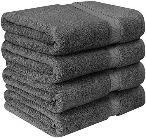 Utopia Towels - Premium Badetücher (4er Pack, 69 x 137 cm) 100{39a5b96fb769f945d2ffe09be9499c0b296b99f188b5c2e250a28d3935b03f90} Ring Spun Baumwollhandtuchset für Hotel und Spa, maximale Weichheit und hohe Saugfähigkeit von (Grey)